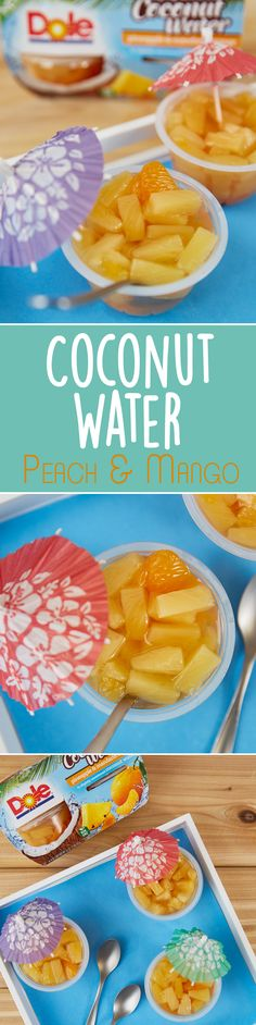 Staying hydrated just got easier! Enjoy refreshing Fruit Bowls in slightly sweetened Coconut Water. Fruit Bowls, Stay Hydrated, Food Categories, Served Up, Easy Snacks, Coconut Water, Recipies, Mango, Peach