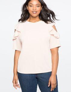 d460887ecb370 Cold Shoulder Ruffle Top Rose Dust Plus Size Designers