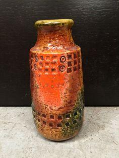 VINTAGE CERAMIC VASE Mid Century Pottery JAPANESE RETRO ORANGE GREENS