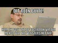 Afrikaanse grappe/humor  Facebook joke Facebook Jokes, Afrikaans, Teaching, Baseball Cards, Humor, Memes, Funny, South Africa, Baby