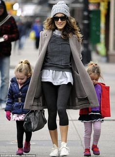 Somehow even glamorous in plain work out clothes.   Sarah Jessica Parker