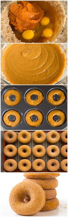 Pumpkin Doughnuts (Baked) - These are the best fall doughnuts EVER! They are so soft and moist and loaded with pumpkin/cinnamon flavor! Fall Desserts, Just Desserts, Delicious Desserts, Dessert Recipes, Yummy Food, Fall Recipes, Sweet Recipes, Holiday Recipes, Donut Recipes