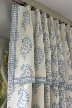 attached valance drapery. soft blue and white Country French paisley