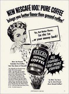 Nescafe Instant Coffee ad, 1954. #vintage #1950s #food #ads