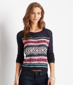 High Contrast Crew Neck Sweater - Aéropostale®