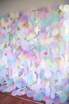 Paper Circle Garland: Pastel Unicorn Rainbow This gorgeous pastel paper garland backdrop would be a stunning accent for birthdays, weddings, or any other special occasion. This airy gar Unicorn Themed Birthday, Mermaid Birthday, Girl Birthday, Purple Birthday, Rainbow Birthday, Birthday Party Decorations, 1st Birthday Parties, Pastel Party Decorations, Birthday Ideas