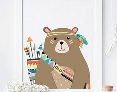 kids room bear be brave Diy Teepee, Tribal Nursery, Arte Tribal, Baby Room Design, Printable Letters, Kids And Parenting, Brave, Whimsical, Kids Room