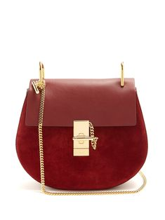 ChloÉ Drew Small Leather And Suede Cross-body Bag In Burgundy Best Designer Bags, Luxury Designer, Vanity Bag, Shoulder Strap, Shoulder Bags, Calf Leather, Cross Body, Calves, Burgundy