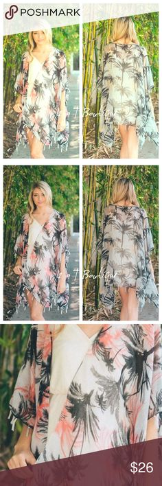 "NEW ARRIVAL  Palm Tree Print Kimono Get your summer beach vibe going with this adorable New Palm Tree Print Kimono Scarf. Dimensions 30"" X 43"". It does have arm holes. Wear over sundress or make it your favorite Swimsuit cover up.   100% polyester. TK42533. Price firm unless bundled  2 a T Boutique  Accessories Scarves & Wraps"