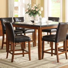 Alluring Counter height dining sets with marble top