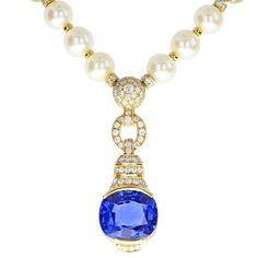 Cartier 21 Carat No Heat Ceylon Sapphire Pearl Diamond Gold Necklace | From a unique collection of vintage drop necklaces at https://www.1stdibs.com/jewelry/necklaces/drop-necklaces/