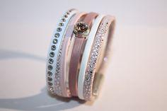 "Kit ""DIY"" facile bracelet manchette en cuir rose clair et blanc avec strass Swarovski"