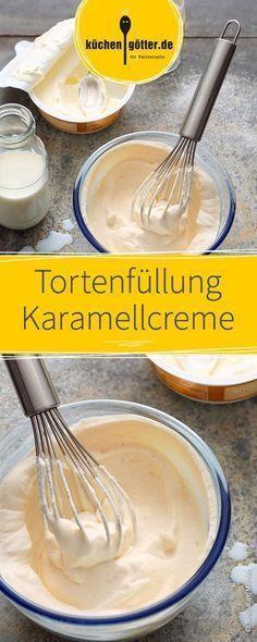 Schnelles Rezept für sahnigen Karamellcreme als Tortenfüllung.