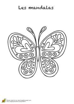 Dessin d'un mandala papillon, coloriage pour enfants