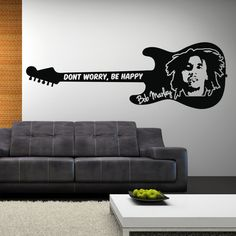 BOB MARLEY Wall Sticker Don't Worry, be Happy Quote Vinyl Art Guitar Silhouette. $34.99, via Etsy.