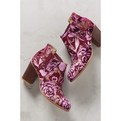 Candela Floral Burnout Velvet Booties (305 CAD) ❤ liked on Polyvore featuring shoes, boots, ankle booties, fuchsia, floral-print boots, fuschia boots, velvet boots, slip on boots and candela boots