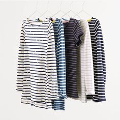 On an average day, you can find roughly of Boden staffers wearing something stripy. Well, nothing beats a classic. Our Breton returns in the same supersoft cotton and a new range of stripes. Just in case you want to wear a new one every day. Casual Going Out Outfits, Nautical Stripes, Chevron, Colourful Outfits, Colorful Clothes, Breton Stripes, Office Outfits, Capsule Wardrobe, Just In Case