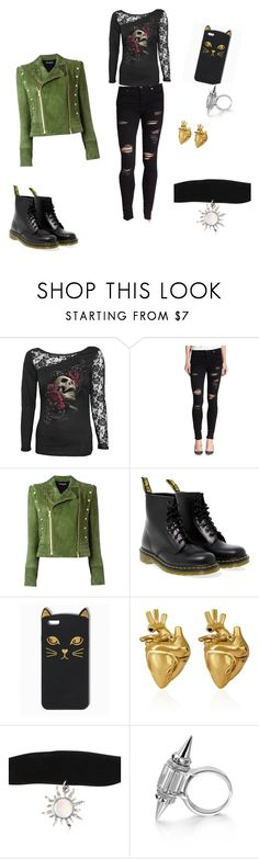 """dont care"" by brideyjaxn on Polyvore featuring True Religion, Balmain, Dr. Martens and StrangeFruit"