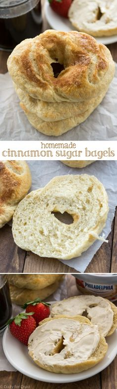 Cinnamon Sugar Bagels are easy to make at home! They're boiled for an authentic bagel flavor and topped with cinnamon sugar before baking. The perfect breakfast!