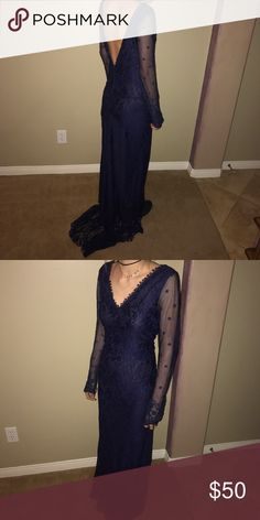 Prom dress Long sleeve navy blue lace prom dress. The girl wearing it is 5'5 Wanelo Other