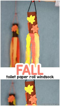 Fall Windsock Toilet Paper Roll Craft - Easy Peasy and Fun Bee Crafts For Kids, Fall Arts And Crafts, Thanksgiving Crafts For Kids, Toddler Crafts, Toilet Roll Craft, Kids Toilet, Paper Towel Roll Crafts, Toilet Paper Roll Crafts, November Crafts