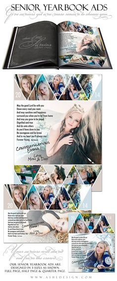 Senior Yearbook Ad Sets for Photographers  PENNANT  by ashedesign, $14.99