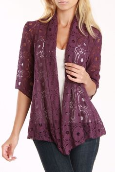 Anna Lee and Hope Lucy Cardigan In Eggplant