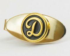"""Vintage Tie Clip:  Letter """"D"""" Initial Tie Bar"""