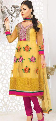 Golden Net #Wedding #Churidar #Suit with Dupatta | @ $86.15
