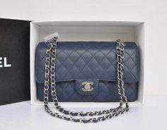 9a8c5f528073dd Wholesale Chanel 1112 Flap bag navy blue ball Leather silver | Top Chanel  1112 bags 25.5