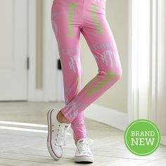 Girls Pink INITIALS & NAME Arden Leggings – Lolly Wolly Doodle