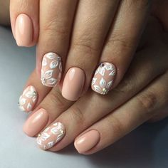 Light rose with white flower and jewel elegant simple nail art