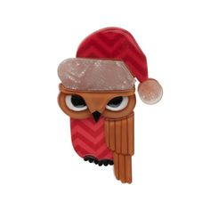Limited edition, original Erstwilder Senor Santa Hat brooch in red. Designed by Louisa Camille Melbourne. Buy now Bird Jewelry, Resin Jewelry, Jewellery, Quirky Gifts, Santa Hat, Wholesale Jewelry, Dark Red, Owl, Retro