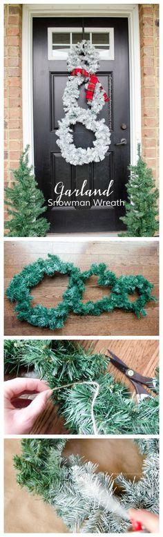 DIY Snowman Wreath tutorial using a garland. Cheap Christmas wreath idea! Or Winter Wreath.