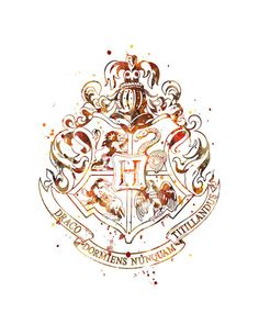 Hogwarts Crest Print Watercolor Art Harry Potter Print Wizard