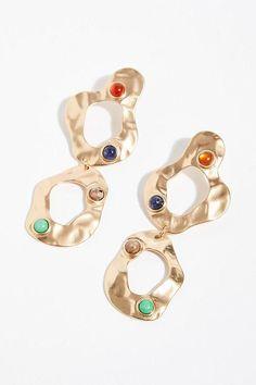 b925a52a4 Zoe Stone Hoop Earrings - Colorful Stone Gold Double Hoop Earrings # hoopearrings Dainty Earrings,