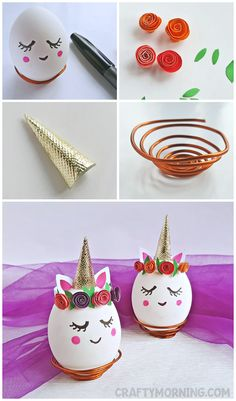 Make adorable unicorn easter eggs! List of Supplies: Egg Black sharpie Pink highlighter pen Craft paper All purpose adhesive Scissors Craft wire Craft pliers – cutting and looping Pencil Instructions: Step … Easter Egg Dye, Easter Crafts For Kids, Bunny Crafts, Unicorn Egg, Easter Egg Designs, Diy Ostern, Egg Art, Easter Holidays, Egg Decorating