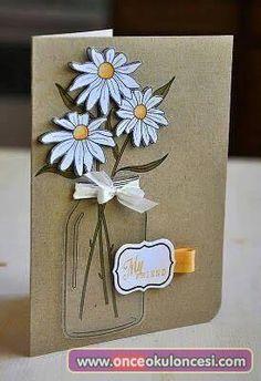 New birthday greetings friendship cute cards ideas Tarjetas Diy, Mason Jar Cards, Mason Jars, Friendship Cards, Cards For Friends, Paper Cards, Flower Cards, Creative Cards, Cute Cards