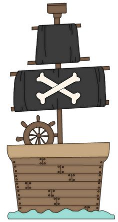Pirate Ship with Black Sails Pirate Preschool, Pirate Activities, Pirate Kids, Activities For Kids, Pirate Birthday, Pirate Theme, Pirate Quilt, Ahoy Matey, Boy Cards