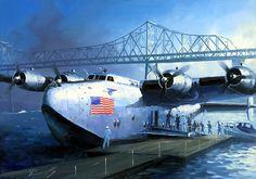 Boeing 314 Clipper in Clipper Cove between Treasure Island and the Oakland-Alameda Bay Bridge.