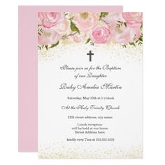 Elegant Pink Gold Sparkle Rose Baptism Invitation - glitter glamour brilliance sparkle design idea diy elegant