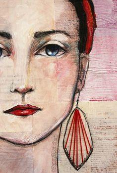 Angelica -détail- by Fanny Blanchet.  Acrylique, fil de coton et collages sur toile (46 x 33 cm) Plus de photos ici :http://nynille.canalblog.com/archives/2013/11/13/28422482.html
