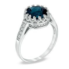 (And it's a crown!!!) 8.0mm London Blue Topaz and White Topaz Crown Ring in Sterling Silver - View All Rings - Zales