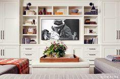 family room sofa + built-ins