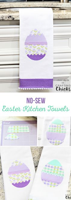 These DIY Easter kitchen towels are easy to make and require no sewing! via @craftingchicks
