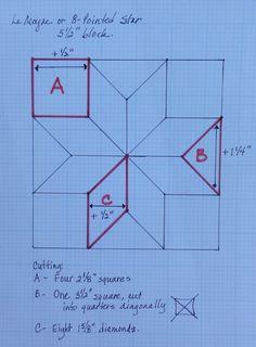 Tamaño para estrella de 8 puntas. how to make pattern for Lemour, eight pointed star