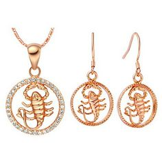 Original Silver-Plated Cubic Zirconia The Zodiac Scorpio Women's Jewelry Set(Necklace,Earrings)(Gold,Silver)