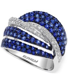 Effy Sapphire (1-1/4 ct. t.w.) and Diamond (1/3 ct. t.w.) Ring in 14k White Gold