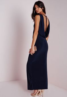 296242cea3 Missguided - Sleeveless Slinky Cowl Back Maxi Dress Navy Cowl Back Dress