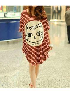 Round Neck Animal Print Striped Red Cotton Loose T-shirt